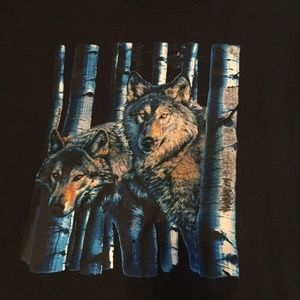 FRUIT OF THE LOOM Wolf Black Graphic Forest Top
